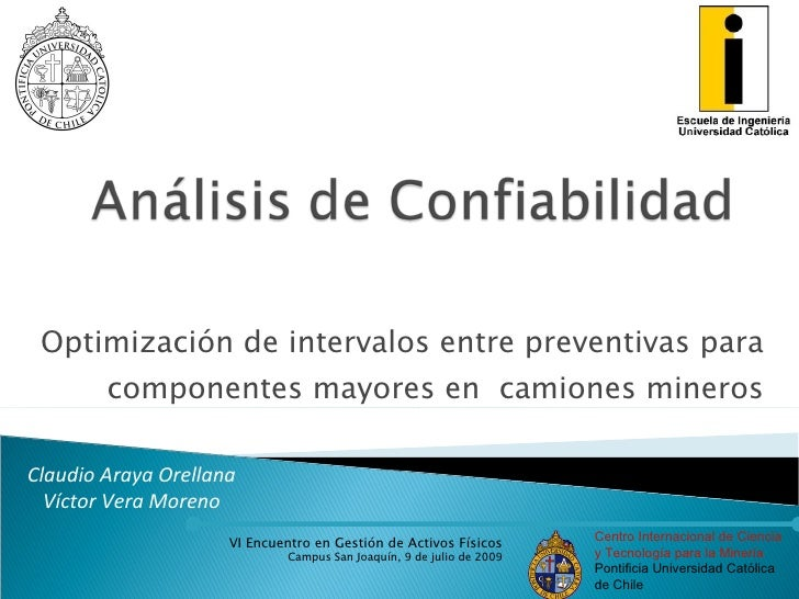 Optimización de intervalos entre preventivas para         componentes mayores en camiones mineros  Claudio Araya Orellana ...