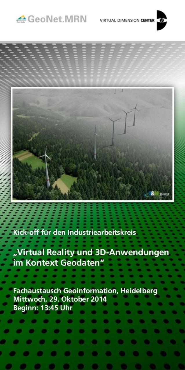 """Kick-off für den Industriearbeitskreis  """"Virtual Reality und 3D-Anwendungen  im Kontext Geodaten""""  Fachaustausch Geoinform..."""