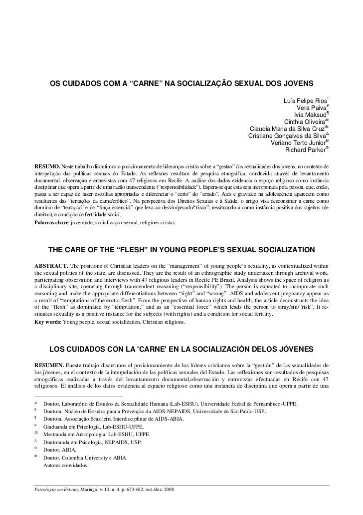 """OS CUIDADOS COM A """"CARNE"""" NA SOCIALIZAÇÃO SEXUAL DOS JOVENS                                                               ..."""