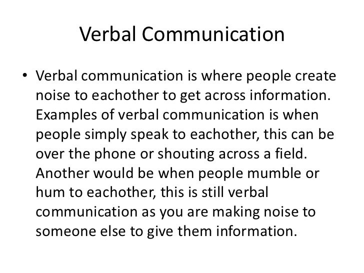 verbal communication essay
