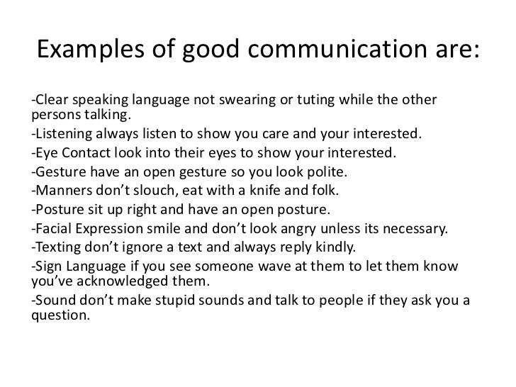 communication and good example