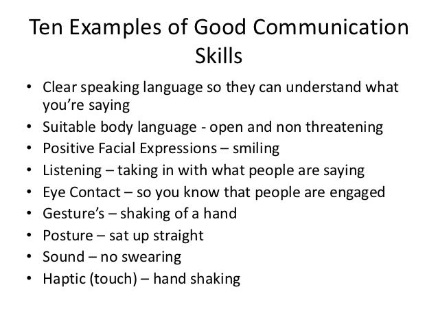 Positive communication skills examples