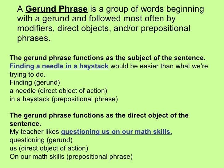Ein Gerundium Satz ist...
