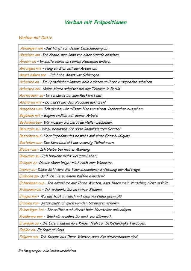 Verben Mit Präpositionen Arbeitsblatt : Verben mit präpositionen dativ