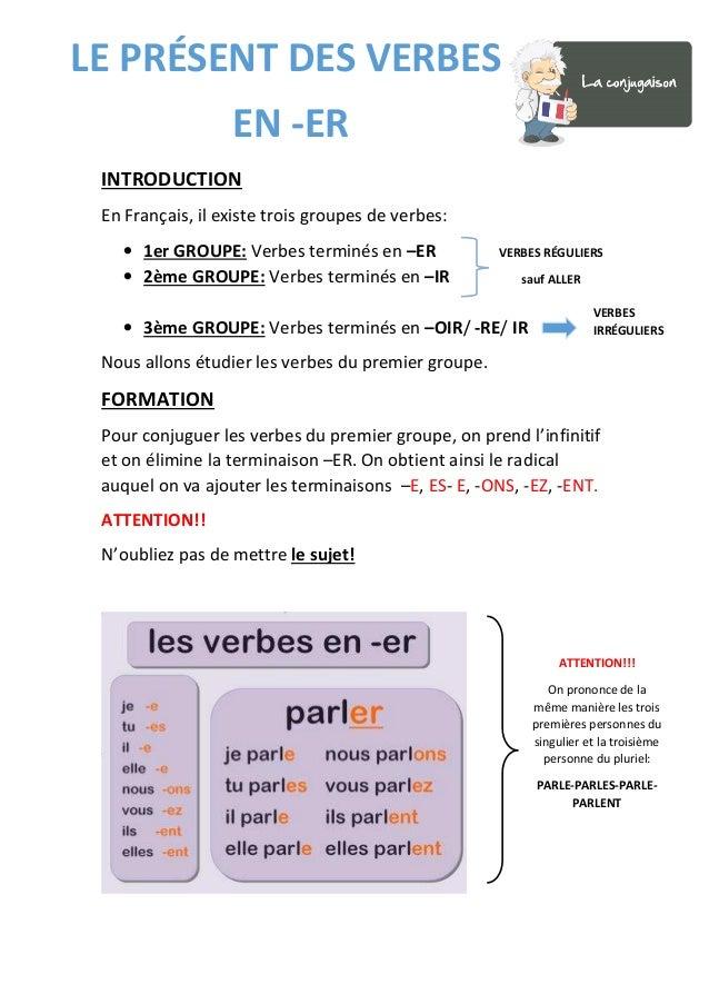 INTRODUCTION En Français, il existe trois groupes de verbes: • 1er GROUPE: Verbes terminés en –ER • 2ème GROUPE: Verbes te...