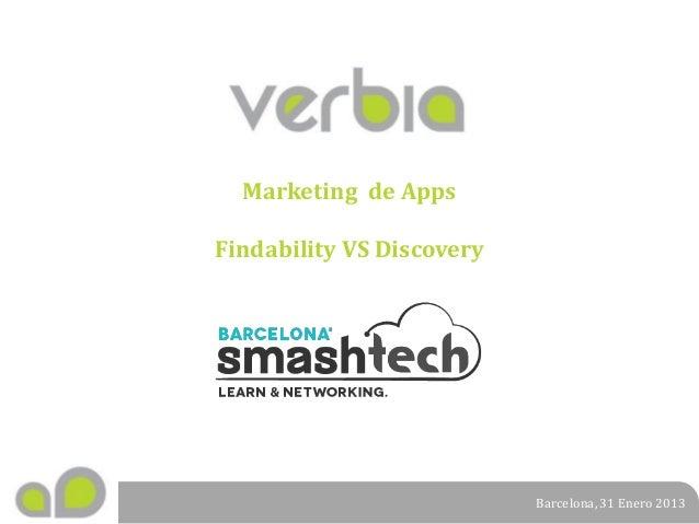 Marketing de Apps Findability VS Discovery  Barcelona, 31 Enero 2013