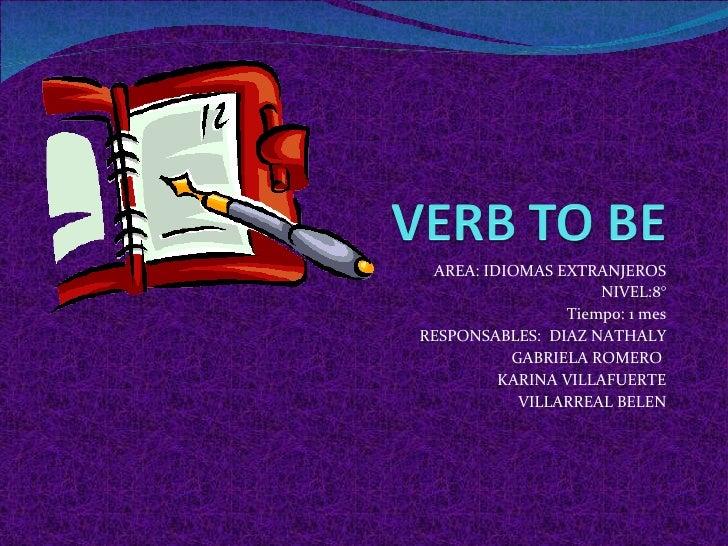 AREA: IDIOMAS EXTRANJEROS NIVEL:8° Tiempo: 1 mes RESPONSABLES:  DIAZ NATHALY GABRIELA ROMERO  KARINA VILLAFUERTE VILLARREA...