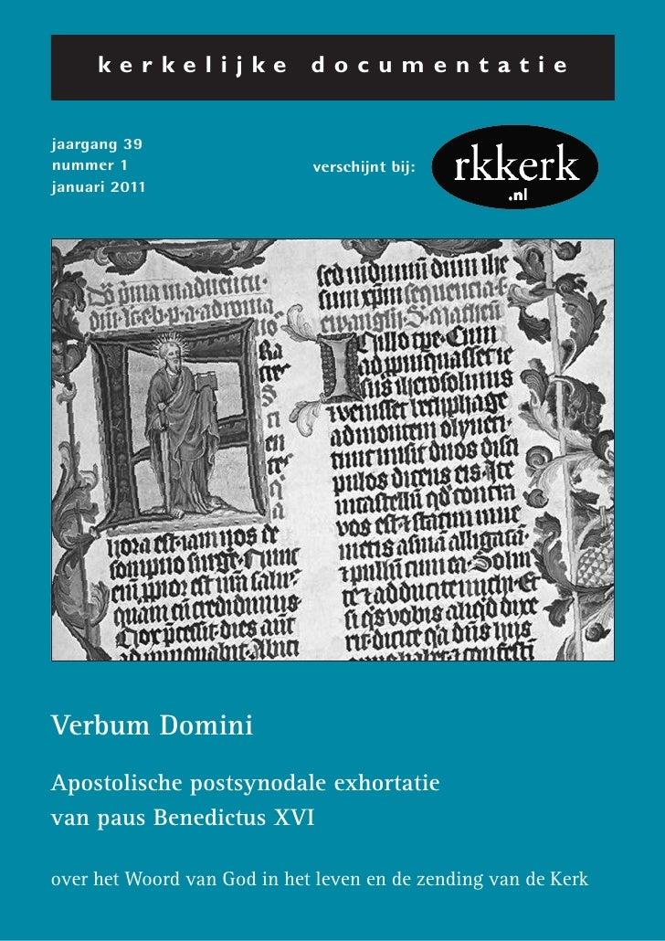 kerkelijke              documentatiejaargang 39nummer 1                     verschijnt bij:januari 2011Verbum DominiAposto...