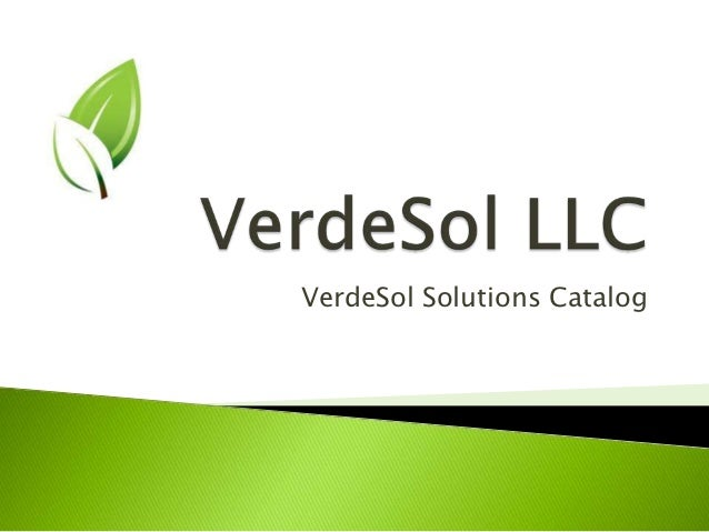 VerdeSol Solutions Catalog