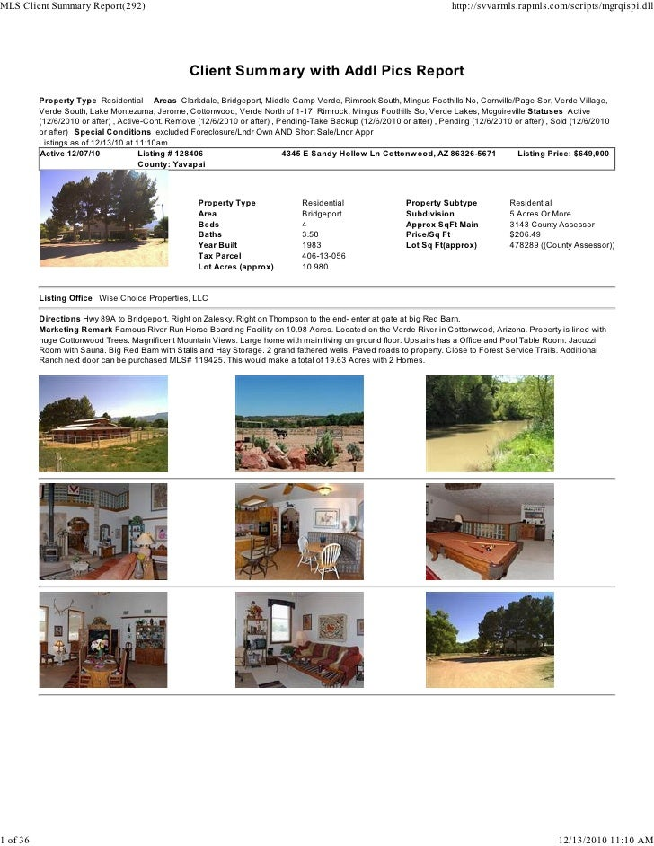 Verde Valley Weekly Real Estate Transaction Report 2010-10-04