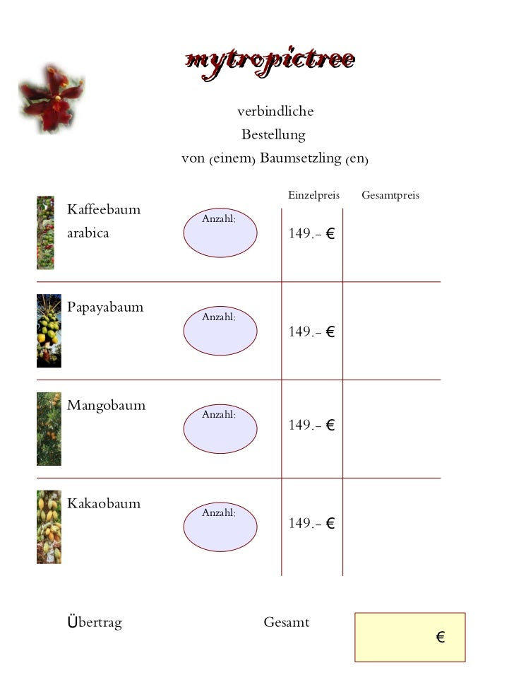 mytropictree                      verbindliche                       Bestellung             von (einem) Baumsetzling (en) ...