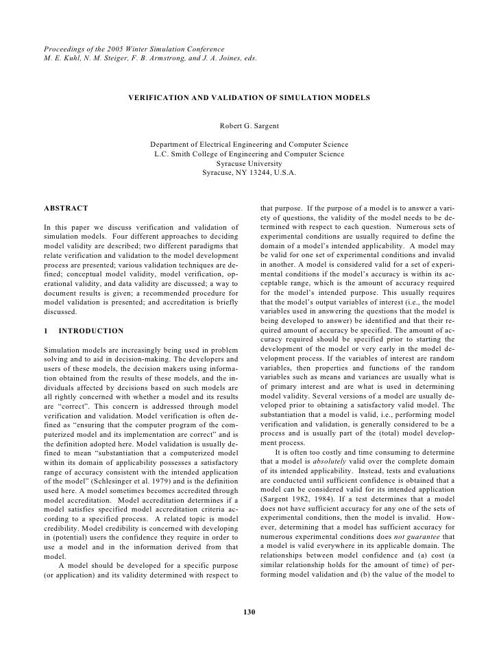 Verfication and validation of simulation models
