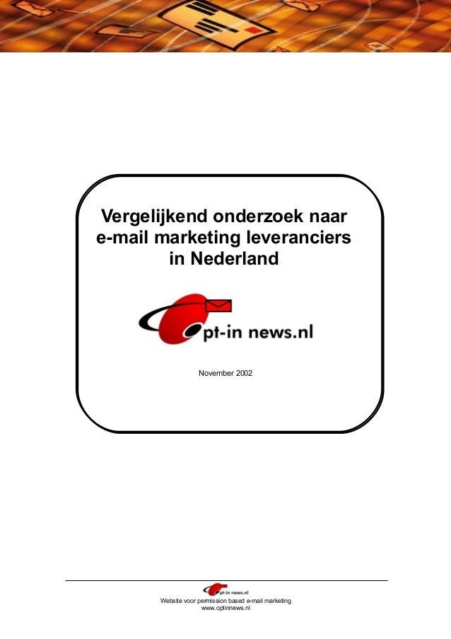 Vergelijkend Onderzoek Naar Email Leveranciers In Nederland In 2002
