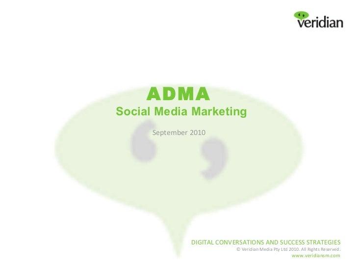 ADMA   Social Media Marketing September 2010