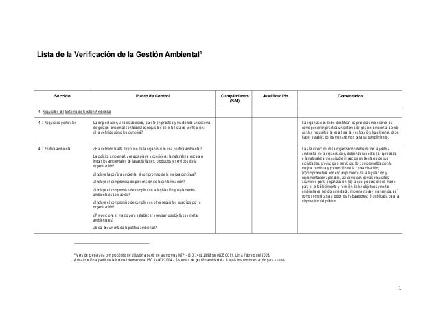 1 Lista de la Verificación de la Gestión Ambiental1 Sección Punto de Control Cumplimiento (S/N) Justificación Comentarios ...