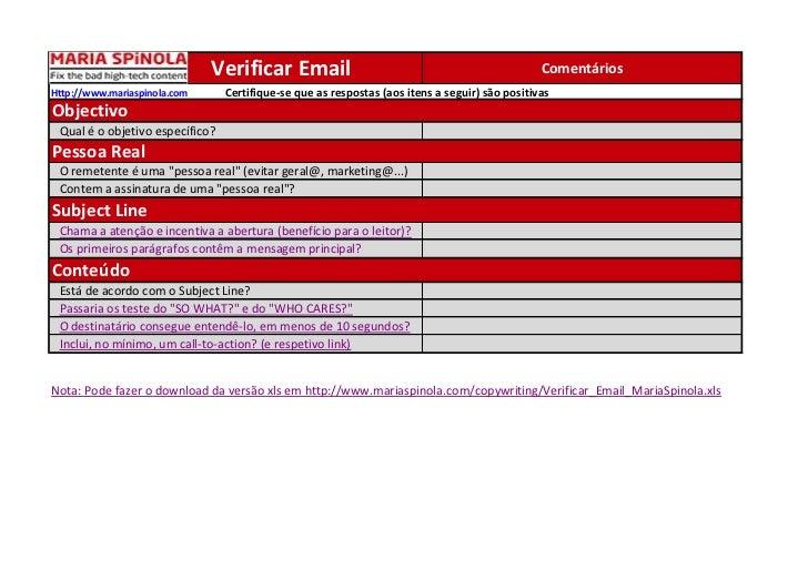 Checklist a usar antes de enviar email