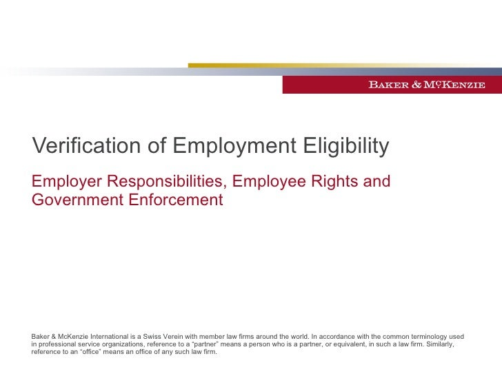 Verification of Employment Eligibility Employer Responsibilities, Employee Rights and Government Enforcement