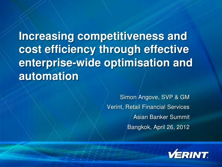 Increasing competitiveness and    cost efficiency through effective    enterprise-wide optimisation and    automation     ...