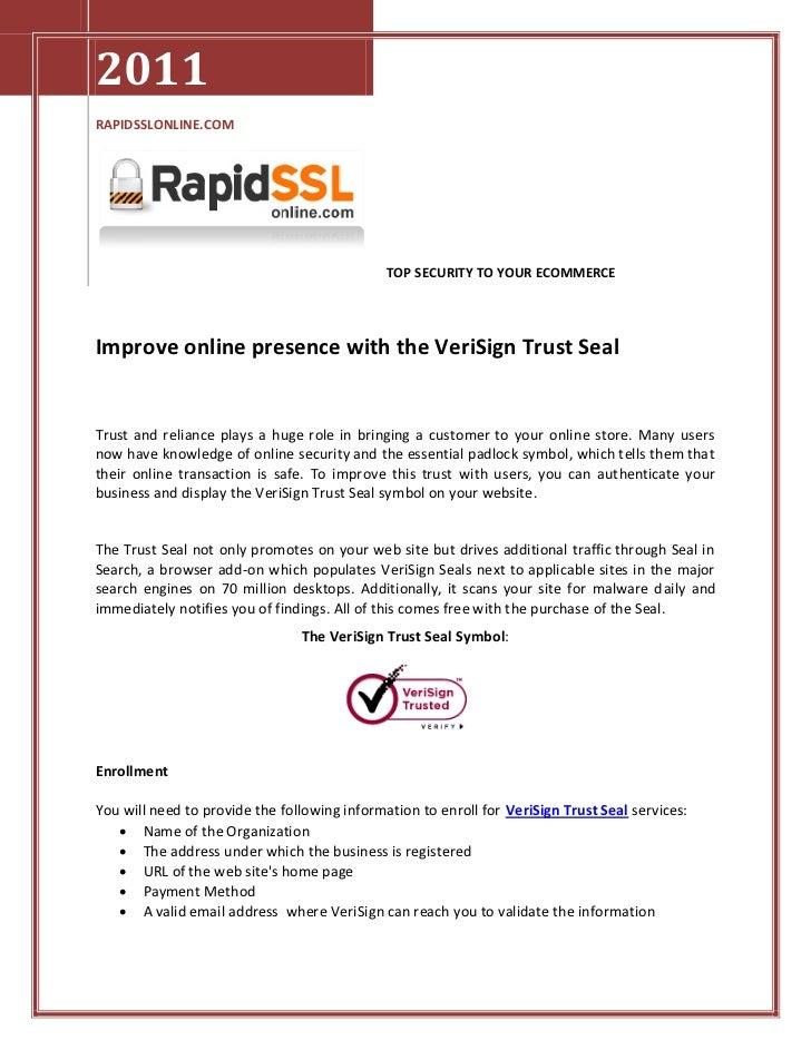 Improve Online Presence with the VeriSign Trust Seal | RapidSSLonline