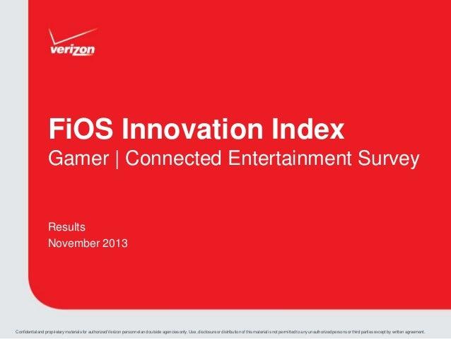Verizon FiOS Gaming Index Survey Results 2013