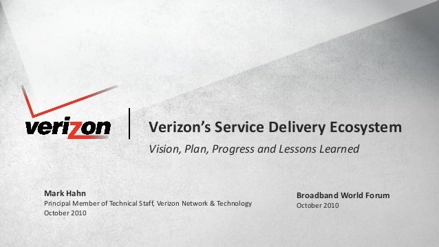 1© COPYRIGHT VERIZON 2010. ALL RIGHTS RESERVED.BROADBAND WORLD FORUM, OCTOBER 2010 NETWORK & TECHNOLOGY Verizon's Service ...