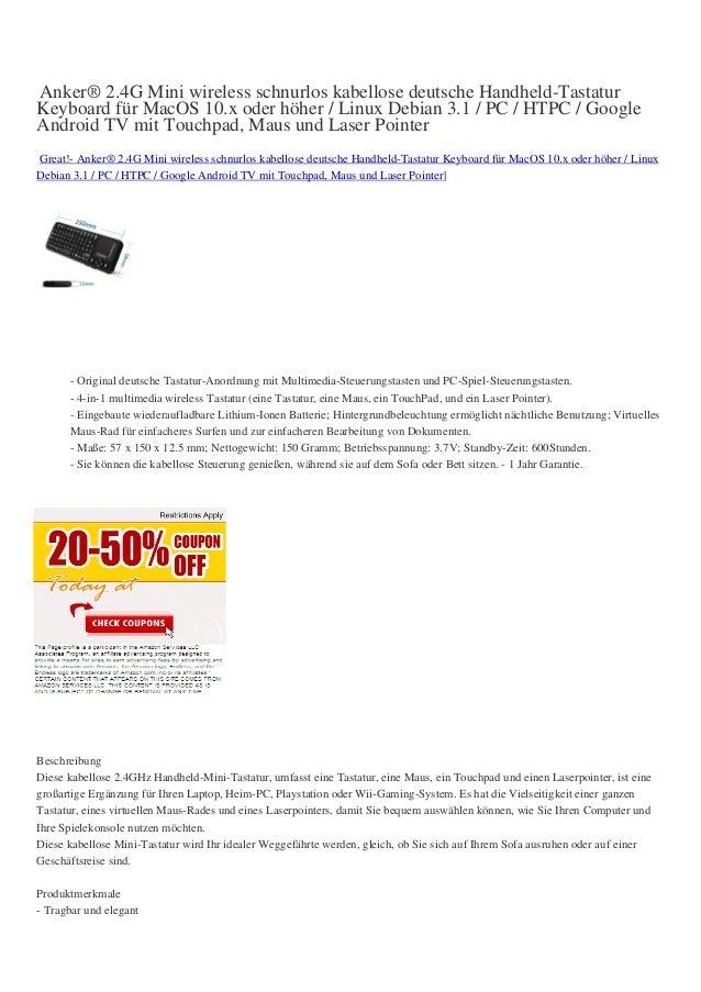 Anker® 2.4G Mini wireless schnurlos kabellose deutsche Handheld-TastaturKeyboard für MacOS 10.x oder höher / Linux Debian ...