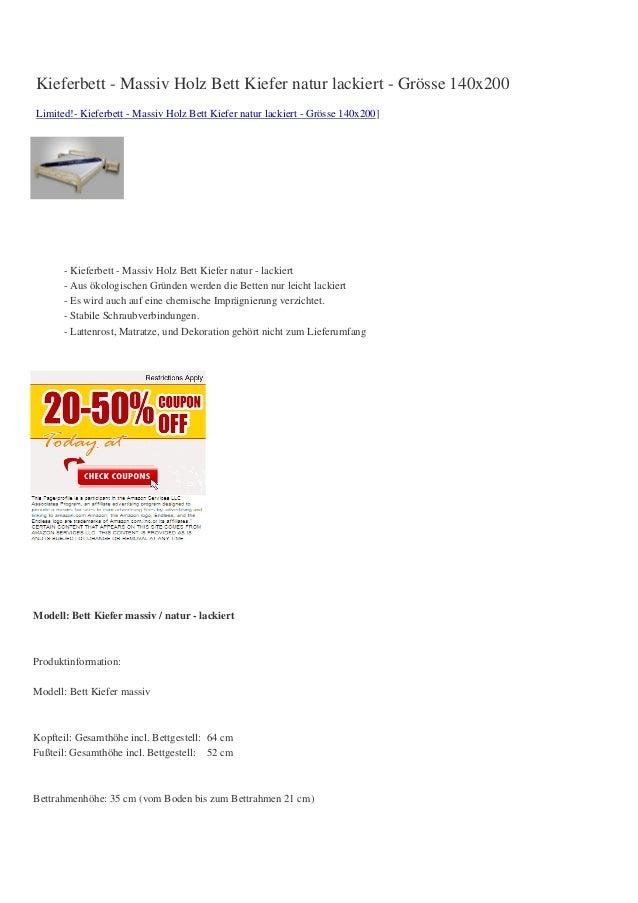 Kieferbett - Massiv Holz Bett Kiefer natur lackiert - Grösse 140x200Limited!- Kieferbett - Massiv Holz Bett Kiefer natur l...