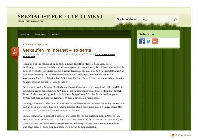 Teilen Diese SPEZIALIST FÜR FULFILLMENT FULFILLMENT-LOGISTIK Suche in diesem Blog startseite impressum kontakt « Ordnung i...
