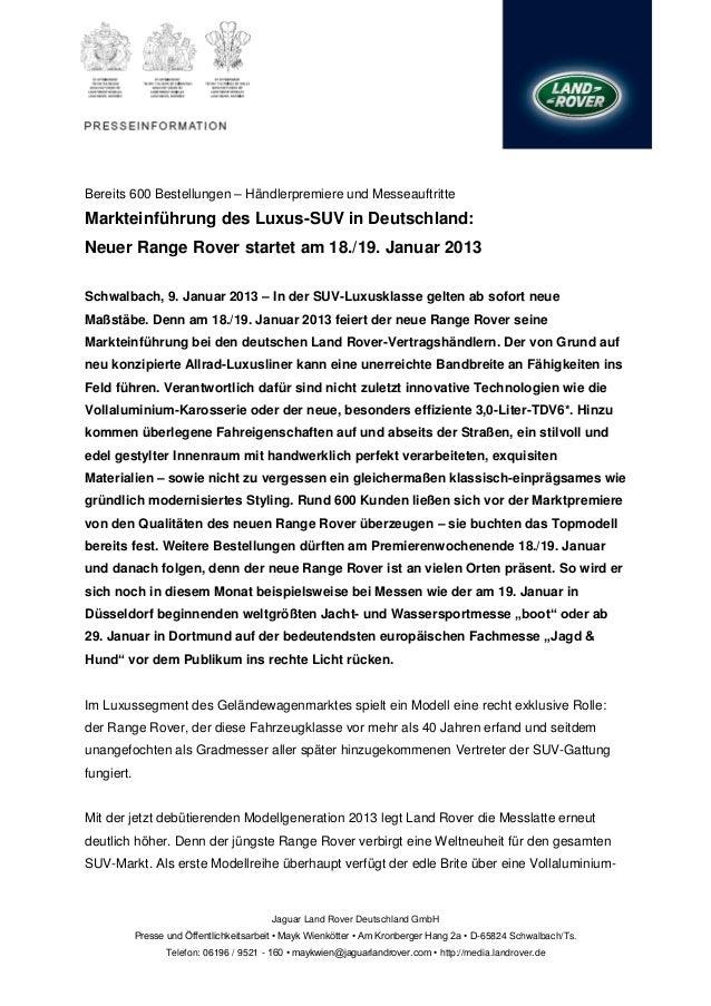 Bereits 600 Bestellungen – Händlerpremiere und MesseauftritteMarkteinführung des Luxus-SUV in Deutschland:Neuer Range Rove...