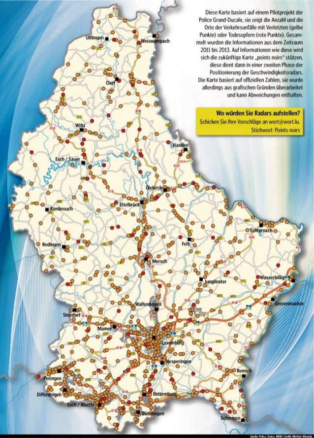 Orte von Verkehrsunfällen