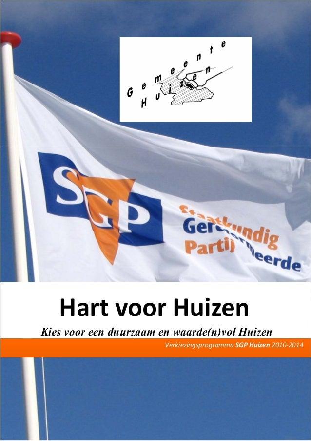 Verkiezingsprogramma sgp huizen 2010 2014