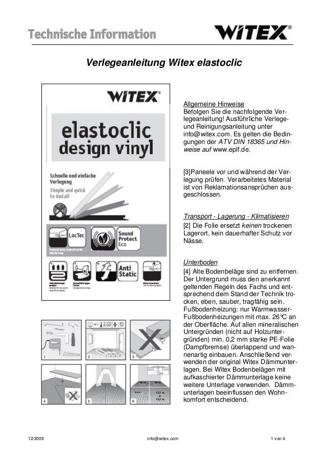 Technische Information          Verlegeanleitung Witex elastoclic                                                  Allgeme...