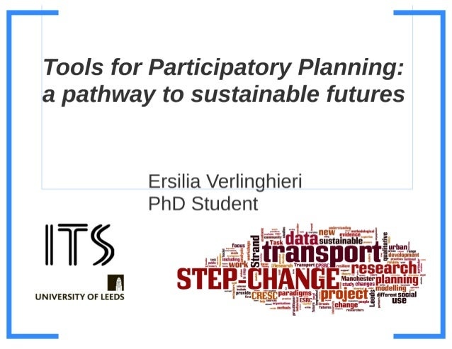 Tools for participatory planning - a pathway to sustainable futures