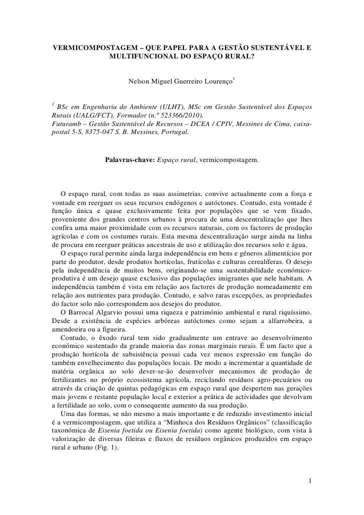 VERMICOMPOSTAGEM – QUE PAPEL PARA A GESTÃO SUSTENTÁVEL E            MULTIFUNCIONAL DO ESPAÇO RURAL?                       ...