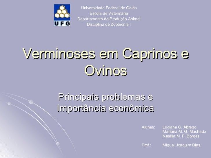 Verminoses em Caprinos e Ovinos Principais problemas e Importância econômica Universidade Federal de Goiás Escola de Veter...