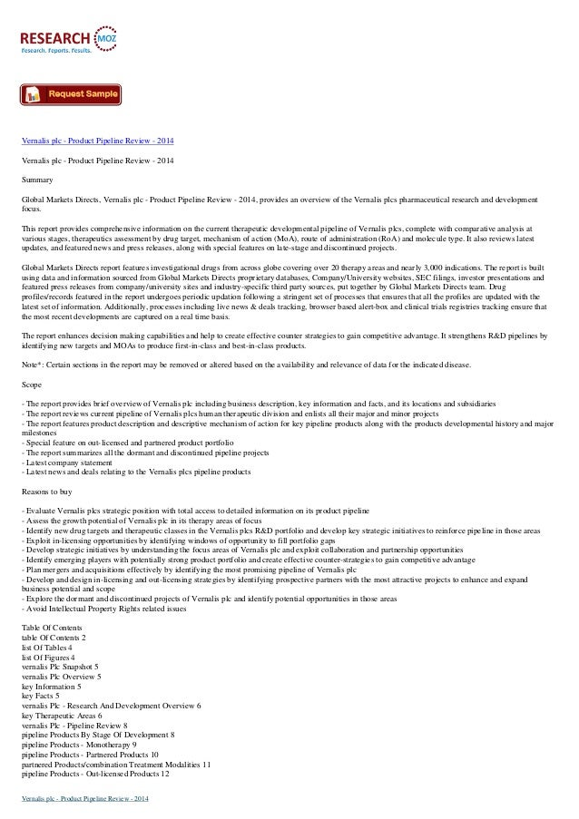 Vernalis plc - Product Pipeline Review - 2014 Vernalis plc - Product Pipeline Review - 2014 Summary Global Markets Directs...