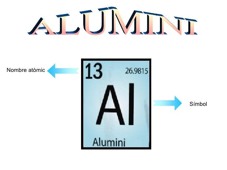 ALUMINI Nombre atòmic Símbol