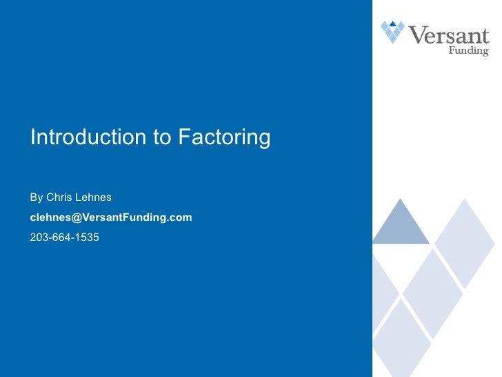 Intro To Factoring