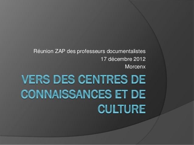 Réunion ZAP des professeurs documentalistes 17 décembre 2012 Morcenx