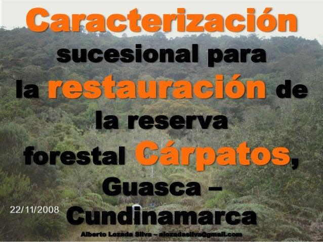 Caracterización sucesional para la restauración de la reserva forestal Cárpatos, Guasca – Cundinamarca Alberto Lozada Silv...
