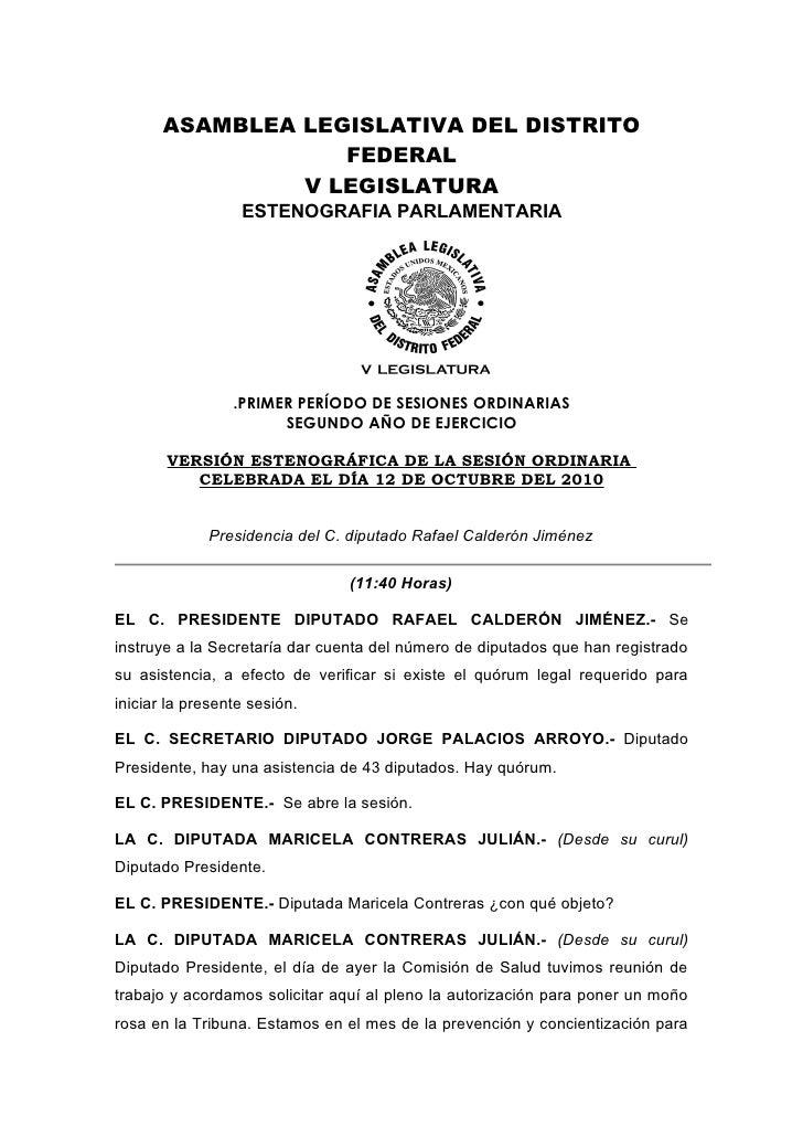 ASAMBLEA LEGISLATIVA DEL DISTRITO                    FEDERAL                 V LEGISLATURA                   ESTENOGRAFIA ...