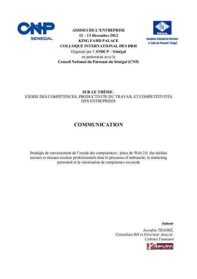 ! ! ASSISES DE L'ENTREPRISE 12 – 13 Décembre 2012 KING FAHD PALACE COLLOQUE INTERNATIONAL DES DRH Organisé par l'ANDCP – S...