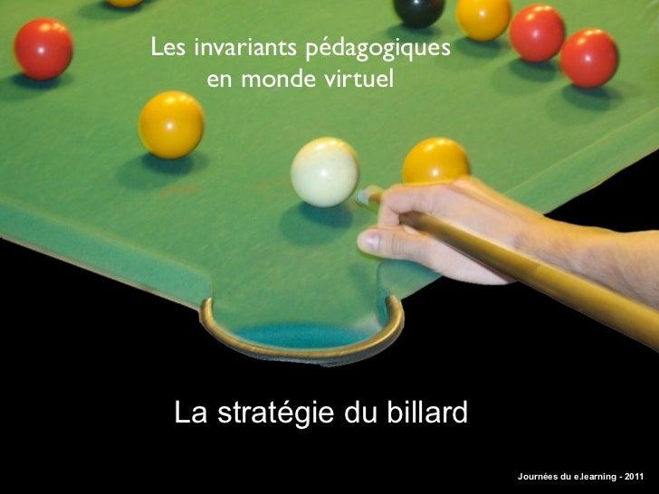 Les invariants pédagogiques     en monde virtuel  La stratégie du billard                              Journées du e.learn...