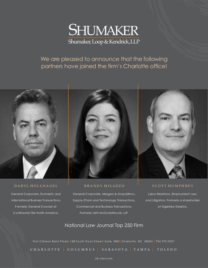 We are pleased to announce that the following                     partnershave joined the firm's Charlotte office!  DARYL...