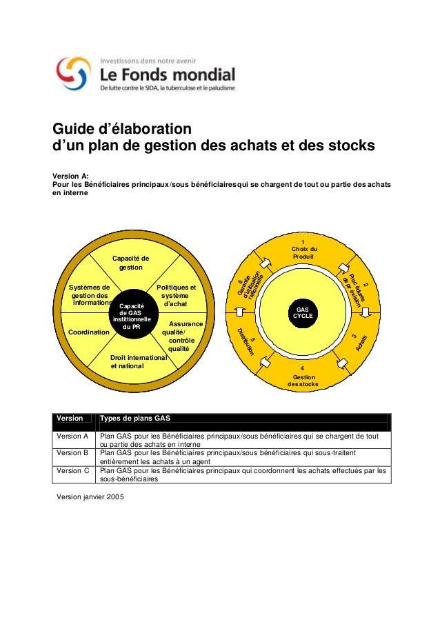 Guide d'élaborationd'un plan de gestion des achats et des stocksVersion A:Pour les Bénéficiaires principaux/sous bénéficia...