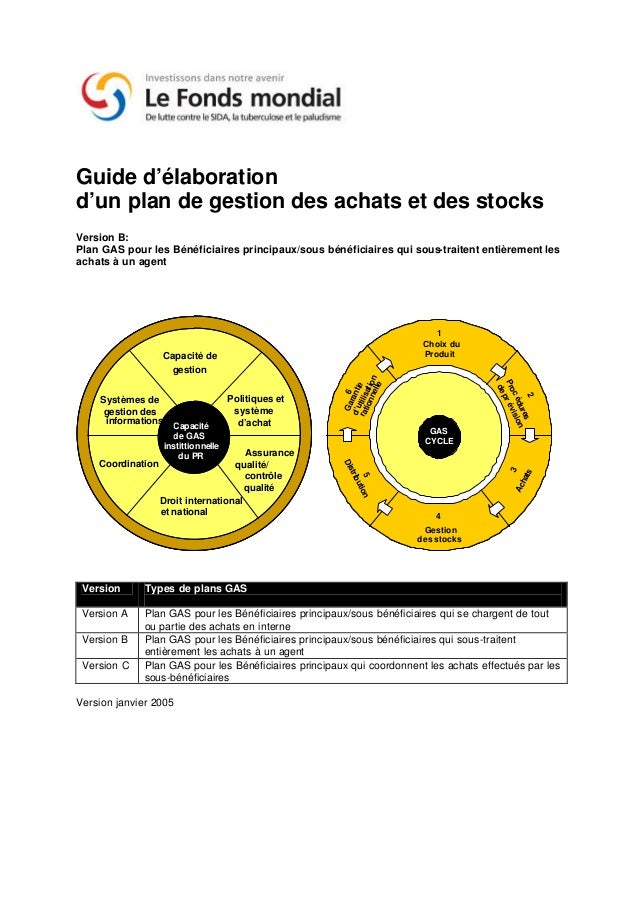 Guide d'élaborationd'un plan de gestion des achats et des stocksVersion B:Plan GAS pour les Bénéficiaires principaux/sous ...