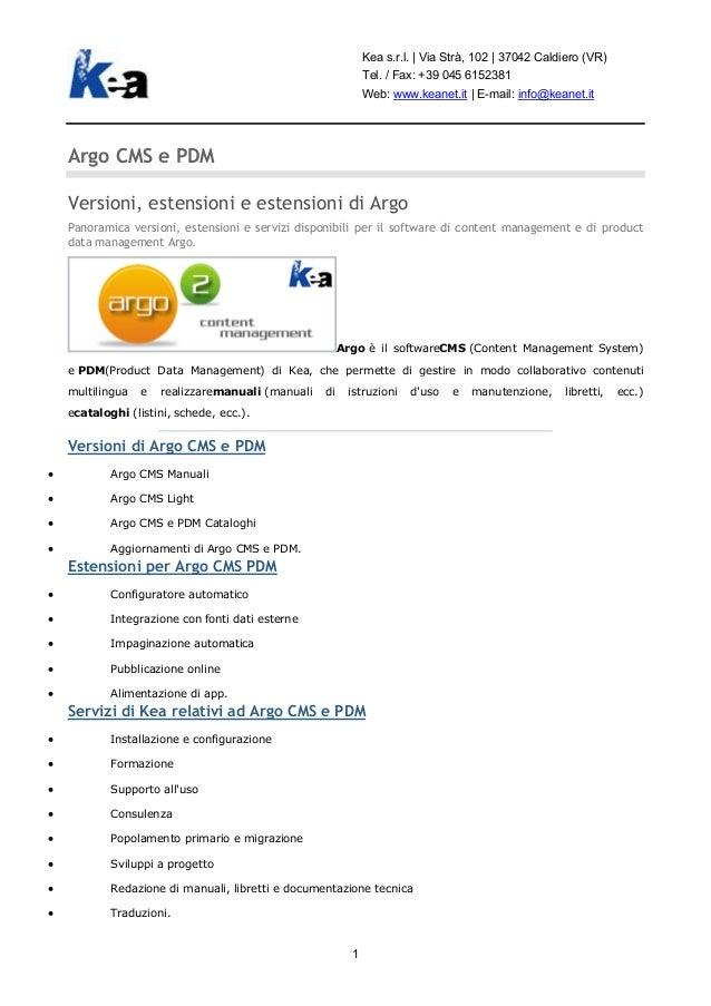 Versioni, estensioni, servizi per il software Argo CMS e PDM di Kea