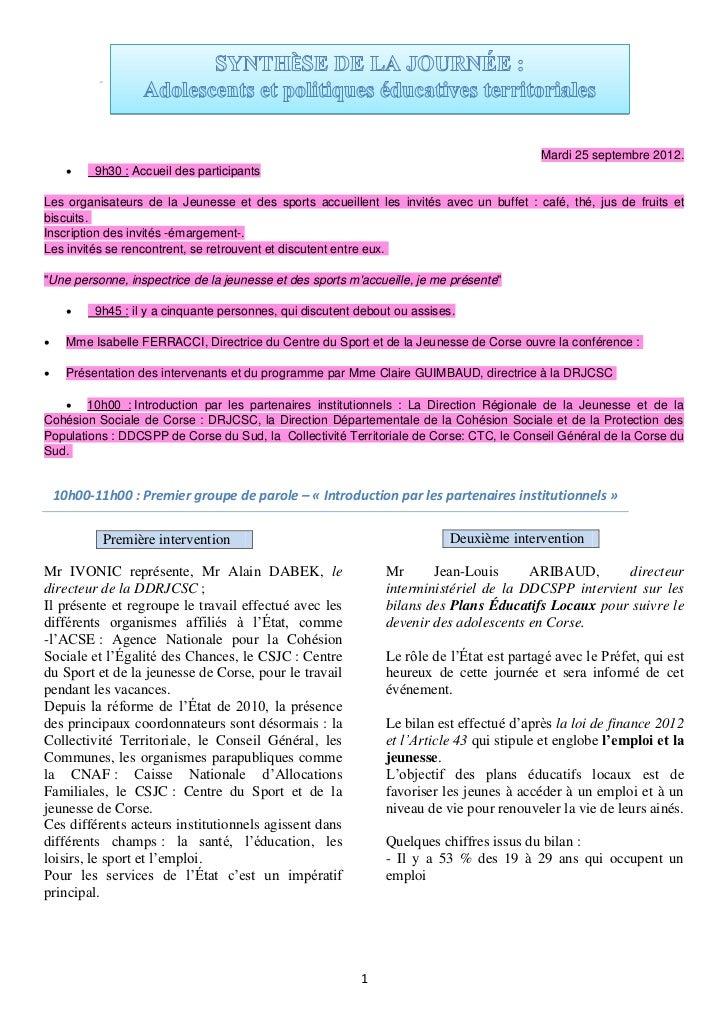 Mardi 25 septembre 2012.          9h30 : Accueil des participantsLes organisateurs de la Jeunesse et des sports accueille...