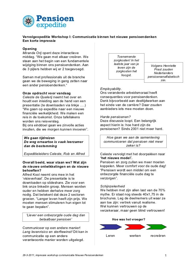 Vervolgexpeditie Workshop I: Communicatie binnen het nieuwe pensioendenkenEen korte impressieOpeningMiranda Orij opent dez...