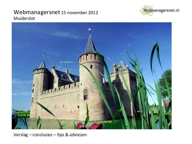 Verslag webmanagersnet themadag 15 nov 2012